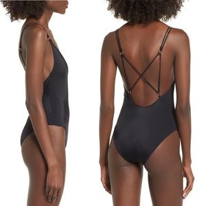 TOPSHOP Black Bathing Suit-Criss-Cross Back-Size 4